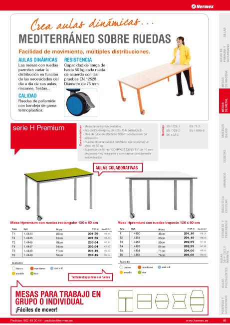 Catalogo mobiliario escolar de infantil primaria y for Mobiliario escolar medidas