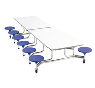 Mesa desplegable rectang. 12  asientos tablero  altura 66cm