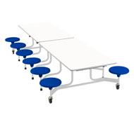 Mesa desplegable rectang. - 12 asientos altura 74 cm