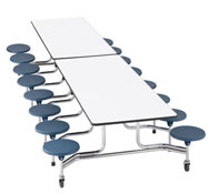 Mesa desplegable rectang.  - 16 asientos altura 61cm