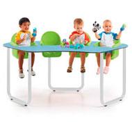 Mesa bebe star2 colectiva azul soft con 4 asientos verde