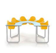 Mesa bebe star2 colectiva con 6 asientos