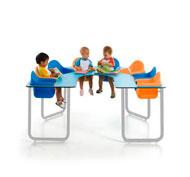 Mesa bebe star2 colectiva azul soft con 8 asientos 4 azules + 4 mandarina