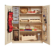 Cupboard music with doors and elements to hang (complete)in beech colour.