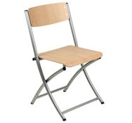 Foldable varsovia chair of steel and wood in grey colour.