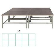 Tarima scenic  rectangular 14,40m2 (10 modulos) conjunto de 6
