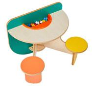 Mesa de juegos duo con cubeta y juego construcción
