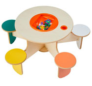 Mesa de juego penta con cubeta y juego de construcción