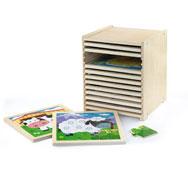 Gran set de 12 puzzles de 9 piezas con caja con estantes lote de 12