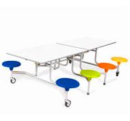 Mesa desplegable rectang. 8 asientos tablero  altura 61cm