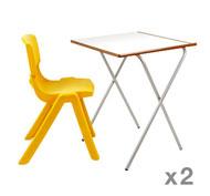 Mesa Plegable Estudio (Altura 75 cm) + silla Funny T6 set de 2 mesas + 2 sillas