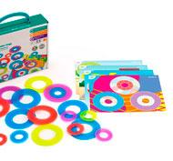 Anillos de colores y texturas matemáticos translúcidos set de 16