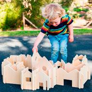 Construcción las casas de madera natural set de28 piezas