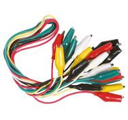 Cables de conexión con pinzas cocodrilo, 10 ud.