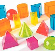 Sólidos transparentes multicolores lote de 14