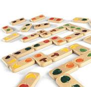 Dominós relieve frutas y verduras diseño ecológico el juego
