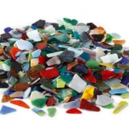 Fragmentos de mosaicos de vidrio poli aprox. 650
