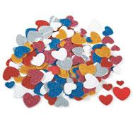 Formas de espuma adhesivas con purpurina corazones aprox. 200