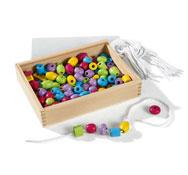 Caja de perlas para enlazar de madera colores pasteles el conjunto