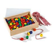 Caja de perlas para enlazar de madera colores vivos el conjunto