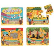 Caja de puzzles los animales del zoo lote de 4