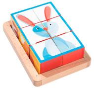 Puzzle encajable 6 cubos bosque zigolos la unidad