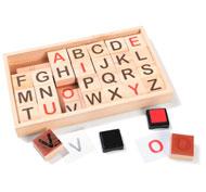 Cofre sellos de madera + entintador alfabeto mayúsculas el conjunto