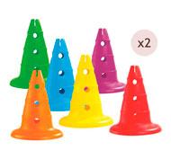 Maxi lote de conos perforados alt.: 32 cm lote de 12