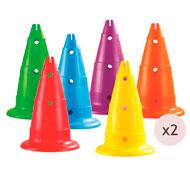 Maxi lote de conos perforados alt.: 50 cm lote de 12