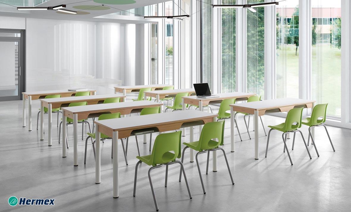 Aulas de Secundaria - Pupitre White + Sillas Class