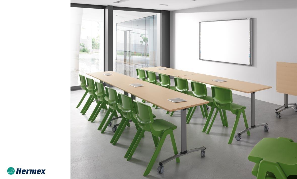 Aulas de Secundaria - Pupitre Mediterraneo + Sillas Funny Verde